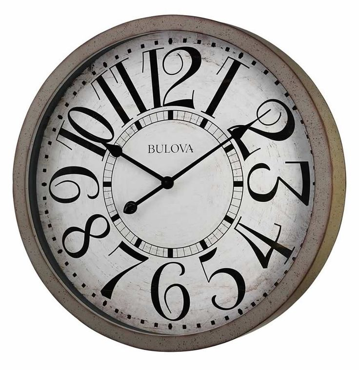 Distressed Industrial Oversized Grey Wall Clock Large Stylized Markers Blv C4815  LARGE ANTIQUE FREY BULOVA WALL CLOCK WITH ARABIC DIALLarge wall clock finished in antique-grey with bold stylized accent Arabic numerals and minute markers, and protective glass lens.