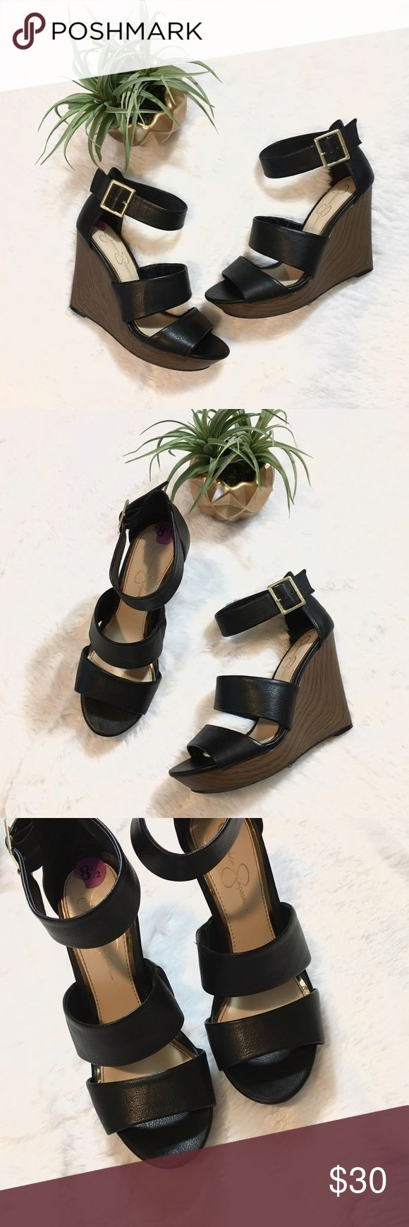 🆕 Jessica Simpsons Black and Brown Buckle Wedges 🆕 Jessica Simpsons Black and Brown Buckle Wedges • New with stickers still attached on sole • Very comfortable for tall heel height • Fit true to size (I'm 8.5 in Nike shoes for comparison) • Stretchy band added to interior band for extra comfort • Let me know if you have questions! Jessica Simpson Shoes Heels