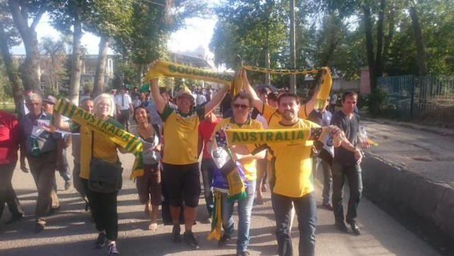 Socceroos fans in Dushanbe enjoying the 0-3 'hard work' victory in the World Cup qualifier against Tajikistan. 09.09.15