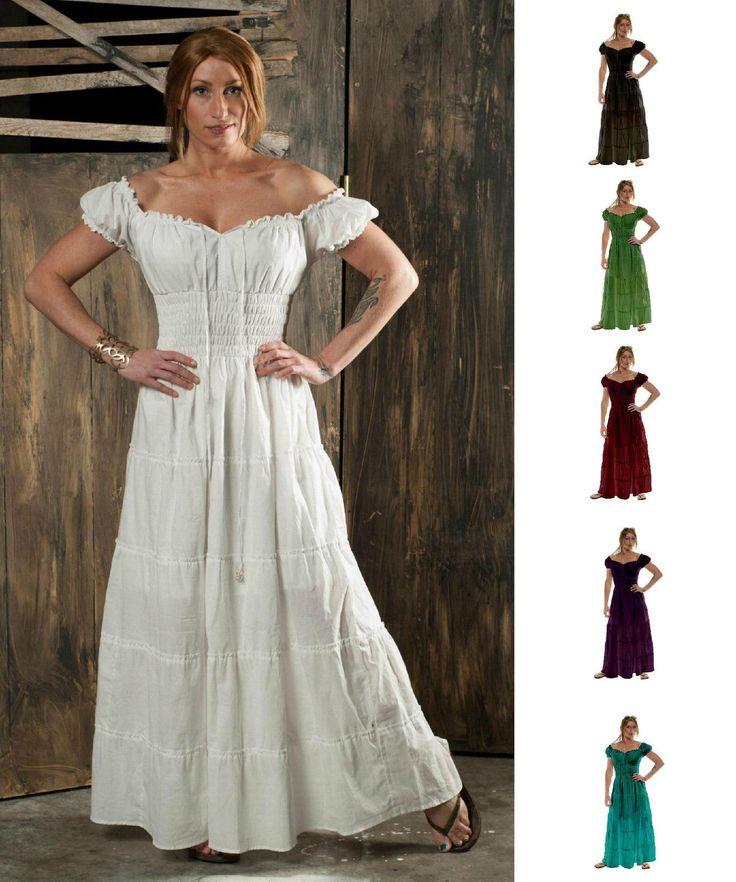 Renaissance Costume Peasant Sun Dress Boho Hippie Gypsy Pirate Wench Faire Gown | eBay