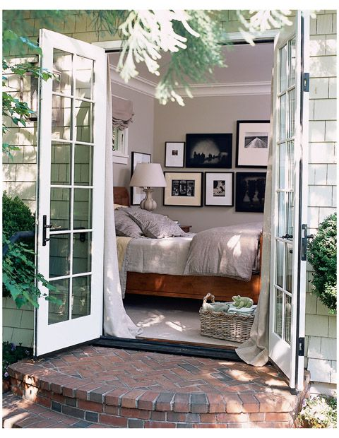 like the ideas of these stairs for  our bedroom doors.. would love to the let the dogs out in the morning with out the hike downstairs, what a great patio...