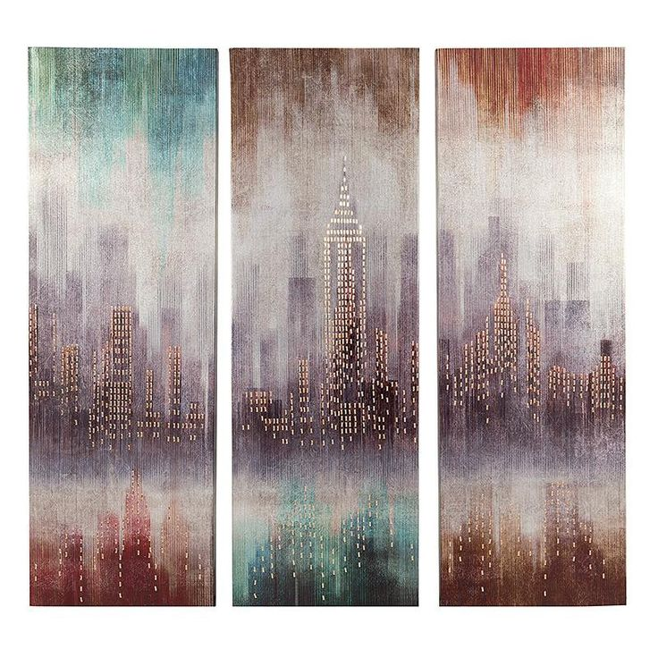 S/3 PRINTED WALL PAINTING CANVAS 'CITY' (90)/30X4X90