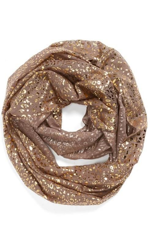 Love: Metallic cheetah print infinity scarf.