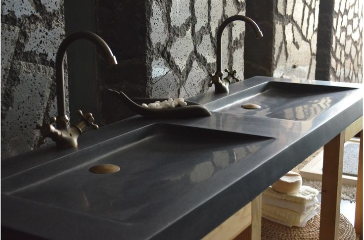 Double vasque en pierre 160x50 Granit noir Luxe - FOLEGE SHADOW- 1 155 ...