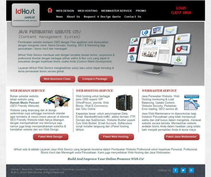 IdHost. Website dengan desain yang profesional untuk bisnis layanan internet, hosting, domain, dan pembuatan website.