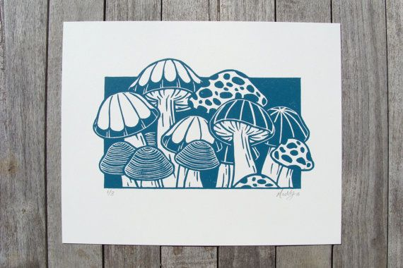 The Mushroom Patch is a limited edition set of 8 linocut prints in a teal color*. Paper Size: 8 x 10 inches Image Size 4.75 x 8 inches approximately *I try my best to match the color of the photograph to the print, but screen settings may vary the color slightly. ===== Some prints in the edition are available at the Sydney E. King Art Center in Bowling Green, VA. ===== ABOUT THE EDITION Hand carved and hand pressed with oil based ink on 100% white cotton paper with a sturdy weight of 2...