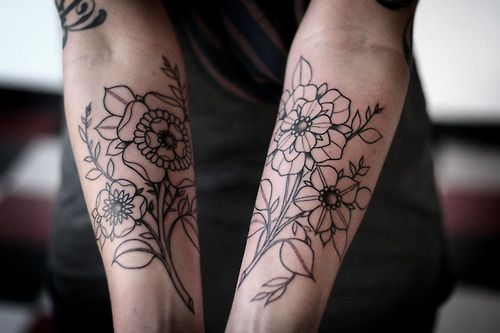 Something like this but instead with lillies and forget me nots on the back of my arm for my sleeve.
