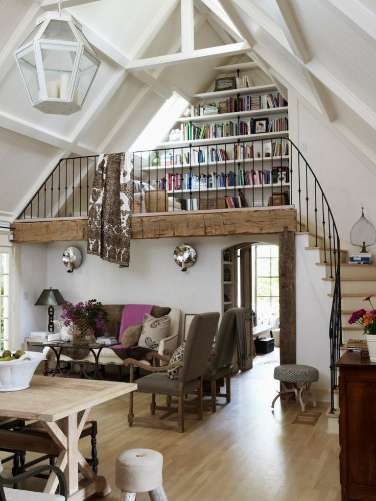 Amazing loft & library ... love the curving staircase - hmmmm reading mez for master bed??? def like the flow for girls beds.