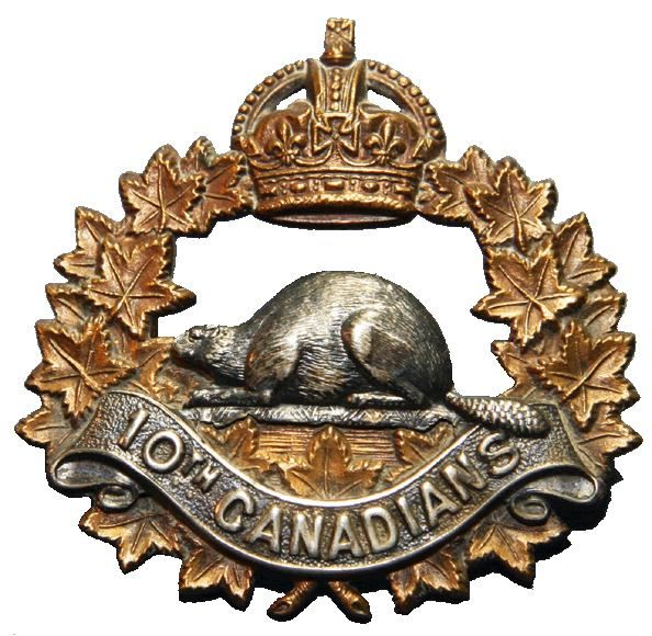 During the Great War, the 10th Battalion (Canadians), CEF was assigned to the 2nd Canadian Infantry Brigade, 1st Canadian Division, and saw service from its arrival in France in 1915 until the Armistice. Sixty members of the battalion were awarded the Military Medal during the Battle of Hill 70, fought between the 15th and 25th of August 1917!