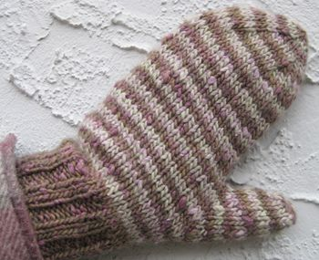 Simple yet effective stripes in complimentary colors of Terra make these buttery soft mittens a perfect knit accessory. The two colors, Acorn and Butternut, highlight the depth of tone and layered dye techniques The Fibre Co. yarns are known for. The pattern may also be used as a starting point for any variety of color options. Use your imagination! DESIGNER: Kate Gagnon Osborn YARN: The Fibre Co. Terra (40% baby alpaca, 40% merino wool, 20% silk; 98 yds/50 gm skein): acorn (MC), butter...