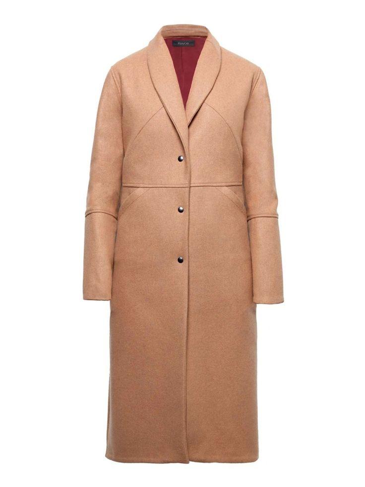 FEMALE CAMEL COAT Press stud closure long coat