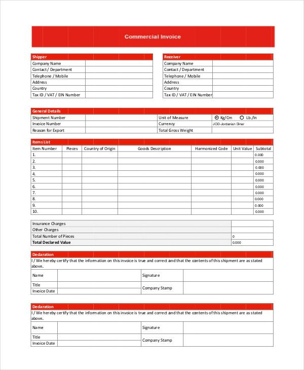 Commercial Shipper Invoice Template , Commercial Invoice Template to Download and Why It Helps You , Download the commercial invoice template to help you make invoice for your business so you can track both billing receipts and invoices in order to ha...