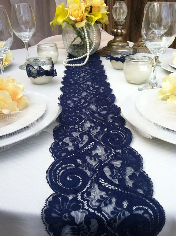 navy blue lace wedding table runner / http://www.deerpearlflowers.com/navy-blue-and-white-wedding-ideas/2/