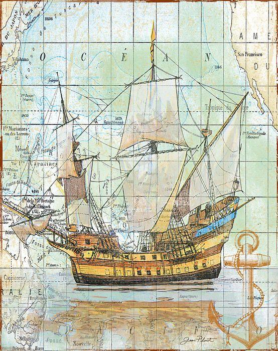морское, barco, mapa, decoupage