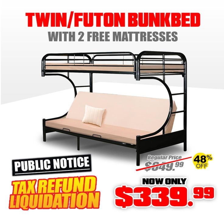 💵 TAX REFUND SUPER SALE! 💵 - Twin Futon Bunkbed Frame with 2 New Mattress for Only $339.99 - Was $599.99  Order here at: http://jmdfurniture.com/twinfutonbunkbedframewith2mattresses.aspx  or visit one of our locations in DMV! Only at JMD Furniture.  #JMDFurniture #TaxRefund #MegaSale  #Liquidation #JMDPrice #JMDValue #JMDGuarantee