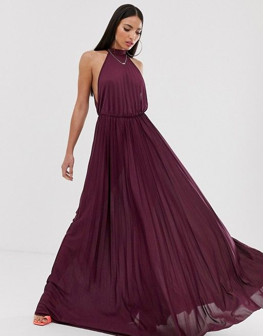 asos design tall halter pleated waisted maxi dress asos with