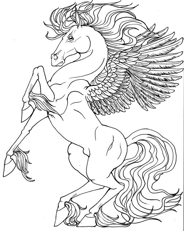 Printable Unicorn Coloring Pages For Adults : 97 best pegasus to color images on pinterest
