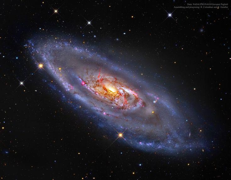 M106: A Spiral Galaxy with a Strange Center Image Credit: NASA, ESO , NAOJ, Giovanni Paglioli; Assembling and processing: R. Colombari and R. Gendler