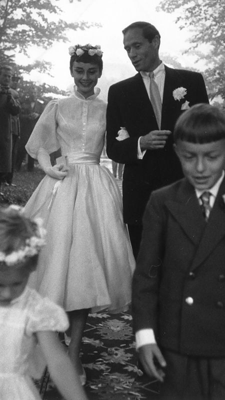 The Best Dressed Celebrity Brides of All Time - Audrey Hepburn  - from InStyle.com