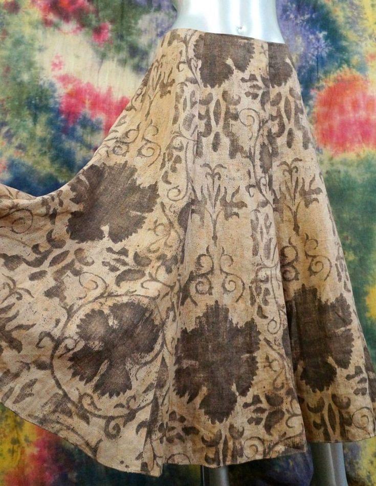 Women's Ralph Lauren Brown Sepia Linen Midi Skirt 16W 16 Lagenlook Artsy Print    eBay