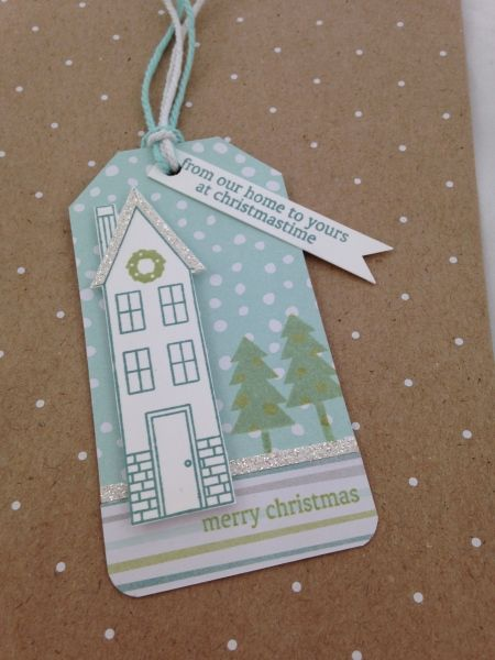 Holiday Home Blue Tag www.stampingwithlinda.com Check out my Stamp of the Month Kit Linda Bauwin – CARD-iologist  Helping you create cards from the heart.
