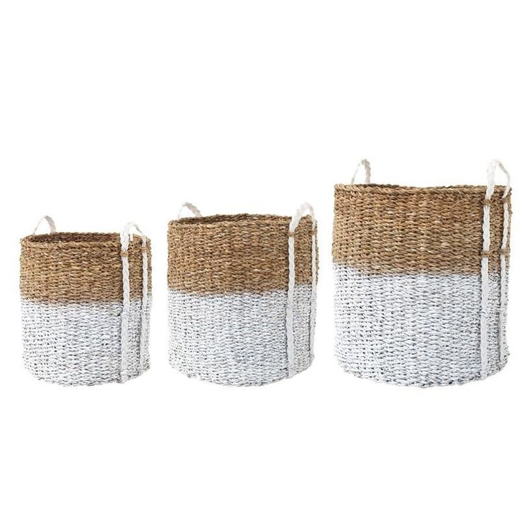 Set of 3 baskets made of Seagrass with white or black dip.For decoration or storage.Great for toys,laundry even sport equipment..€317