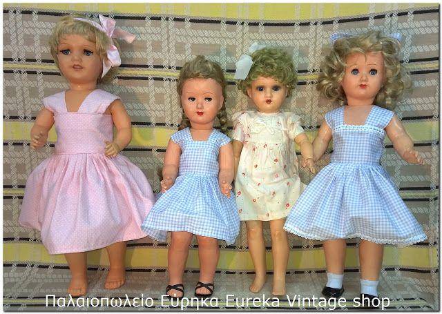 4 νοσταλγικές κούκλες από την δεκαετία 1950's περίπου.
