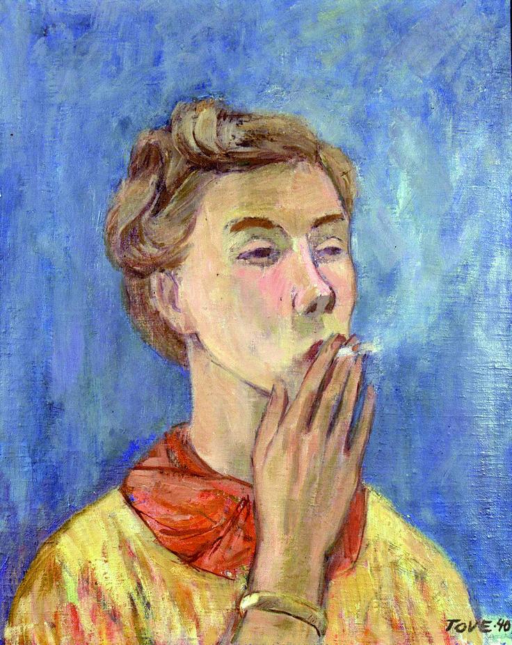 Tove Jansson (Finnish: 1914-2001) - self portrait with cig