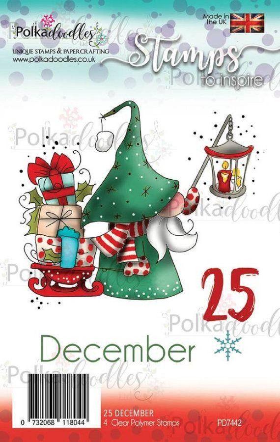 Tampon clear 25 december Polkadoodles, carte de voeux, pour