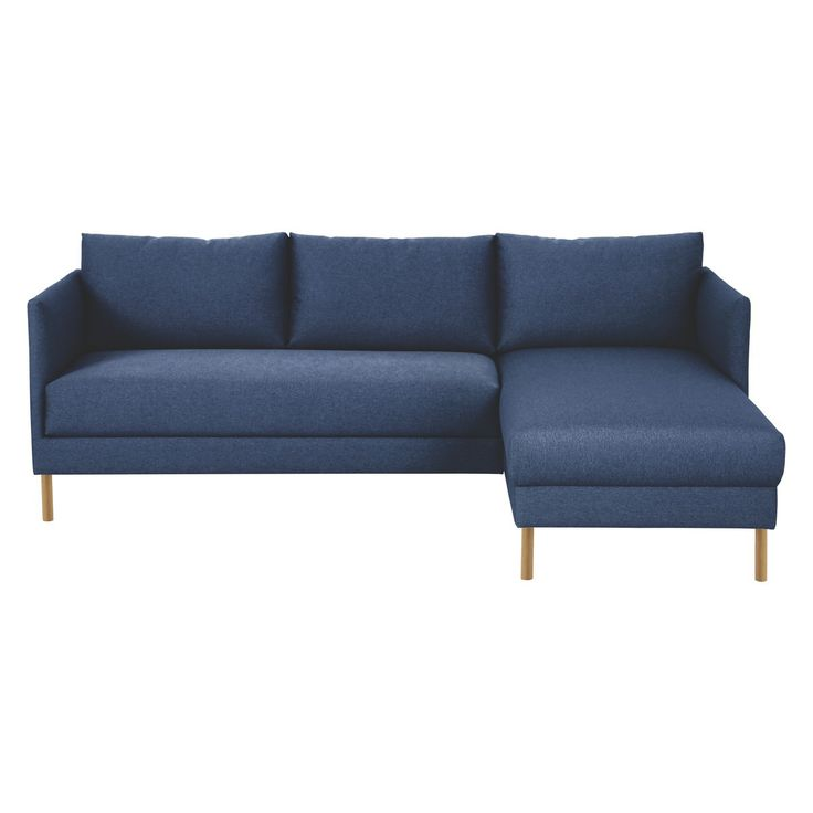 HYDE Blue fabric right-arm chaise sofa, wooden legs