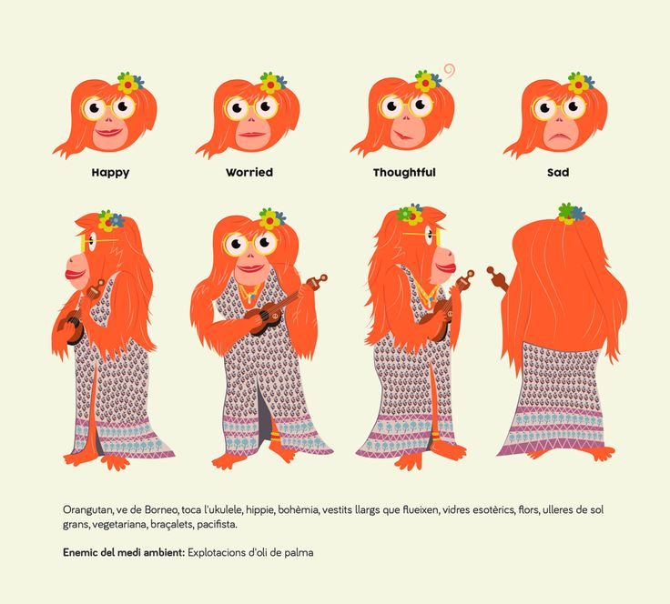 ceskus, character design, diseño personaje, ecology, hippie, oranguntan, vector, illustration