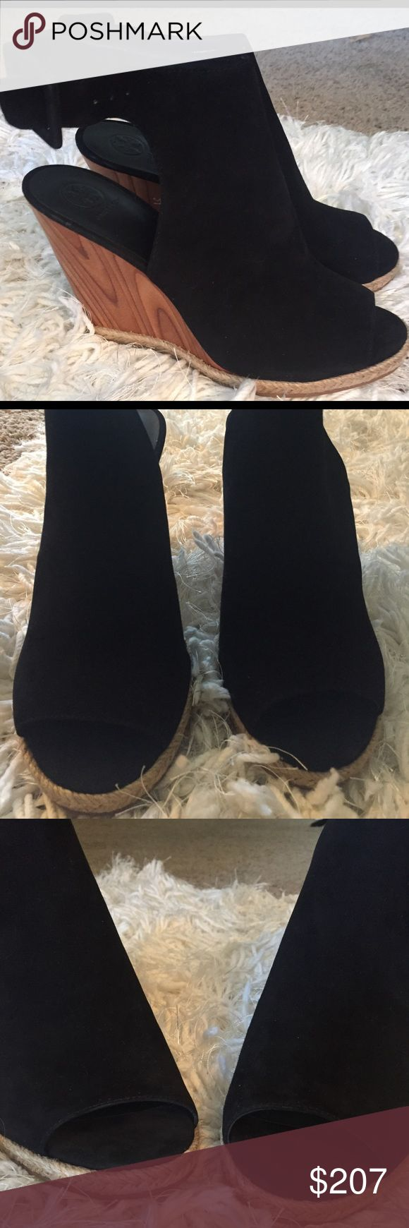 PRICE REDUCTION!! NEW TORY BURCH BOOTIES!! Black suede TORY BURCH peep toe booties with rubber sole for extra comfort. Soooo cute!! Tory Burch Shoes Ankle Boots & Booties
