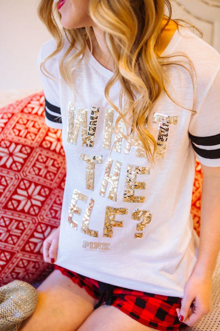 @VSpink Christmas pjs are on point - wearing my #WhatTheElf tee + #BuffaloPlaid sleep shorts on repeat! Merry #PINKmas