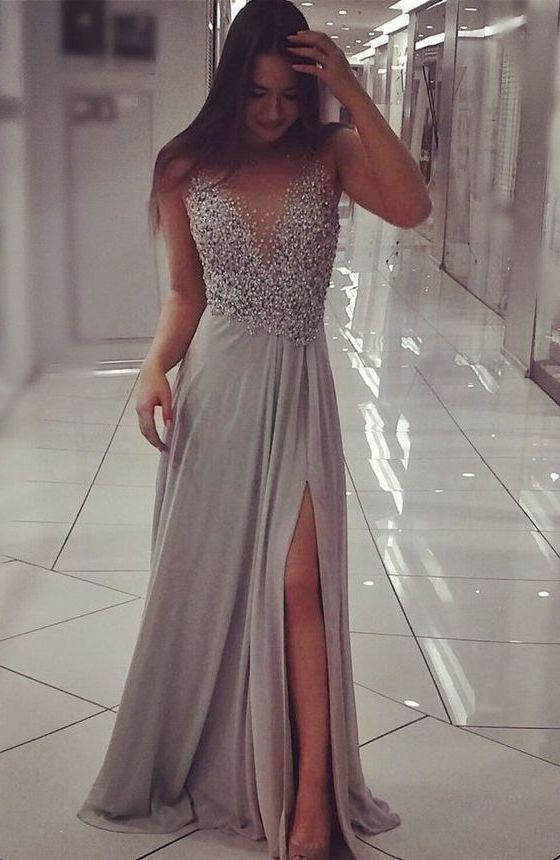Front Split Prom Dresses,Beading Prom Dress,Silver Gray Prom