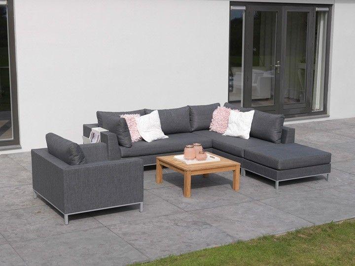 CASABLANCA Lounge Gartenmöbel Lounge Gartenset Textilene Grau - loungemobel garten grau