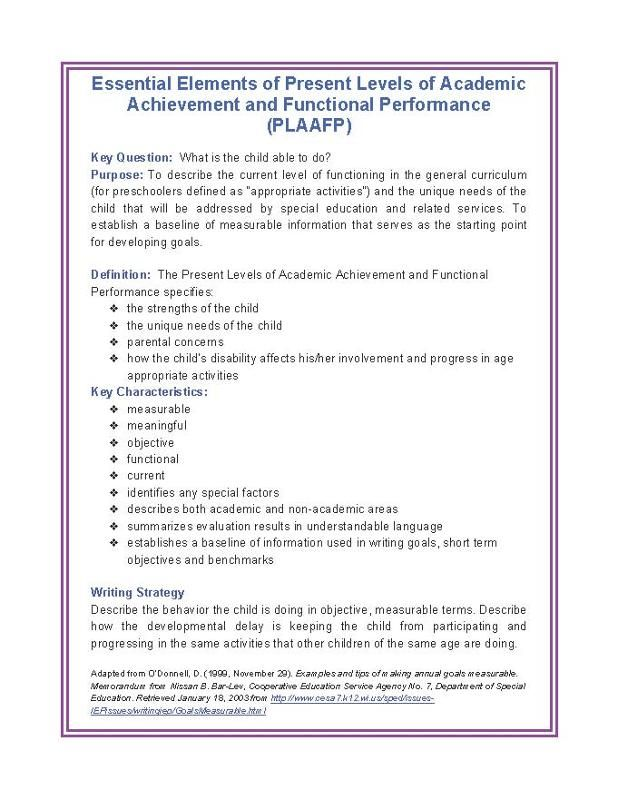 Best Plaafps Present Levels Of Academic Achievement And