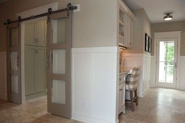 I think we could DIY up something similar to these doors. Paint them white and use satin nickel hardware.