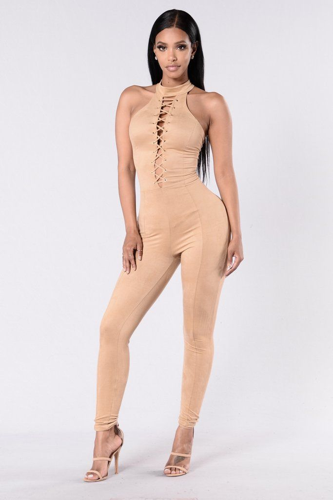 - Available in Nude - Suede Jumpsuit - Straight Leg - Sleeveless - Mock Neck - Criss Cross Front - Deep V Neckline - Exposed Back Zipper - Made in USA - 90% Polyester 10% Spandex