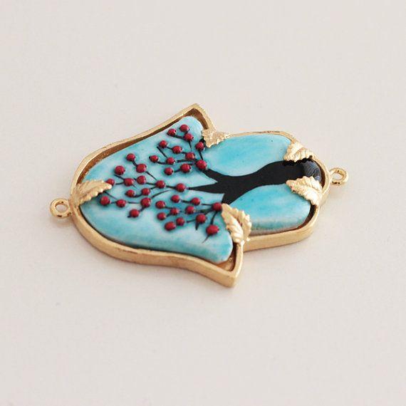 Hamsa Fatimas Hand Blue Ceramic Turkish Tile Hand by Vanilleecom