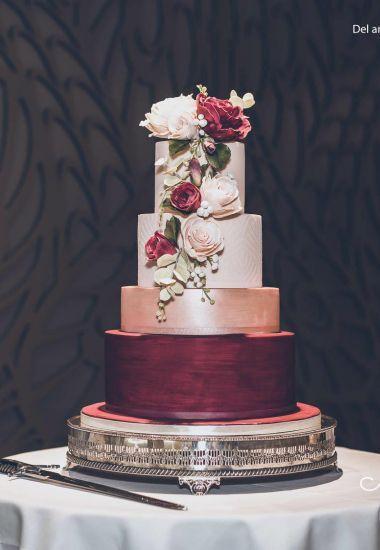 burgundy and rose gold wedding cake.