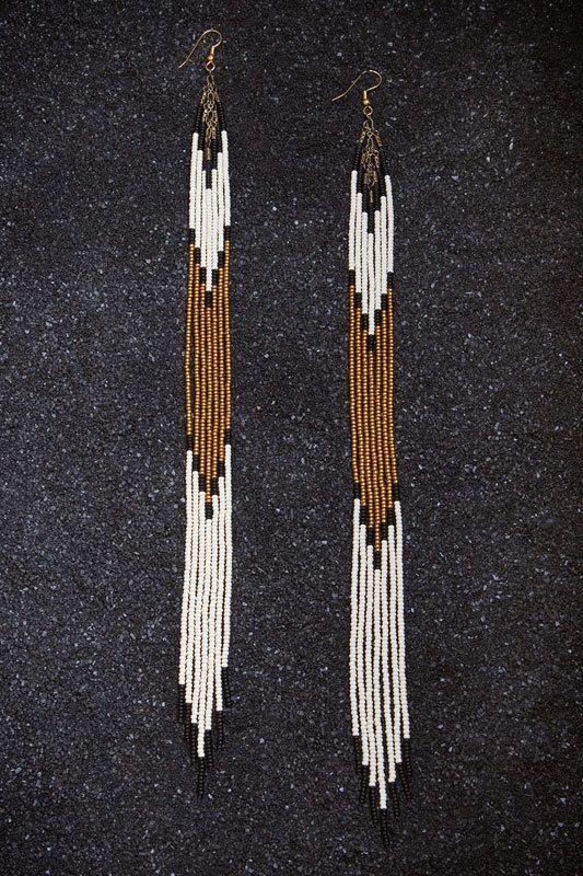 "Items similar to Ghost Dancer Hand Beaded 11 1/2 "" Long Seed Bead Fringe Earrings on Etsy"