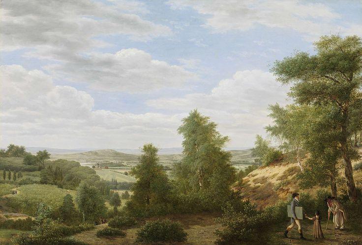 Pieter Rudolph Kleijn | View of the Valley of Montmorency near Saint-Leu-la-Forêt, Pieter Rudolph Kleijn, 1808 | Gezicht op de vlakte van Montmorency bij St. Leu. Heuvelachtig landschap, rechts op de voorgrond een kunstenaar met een map onder de arm en een klein meisje aan de hand bij een bedelaar op krukken onder een boom.