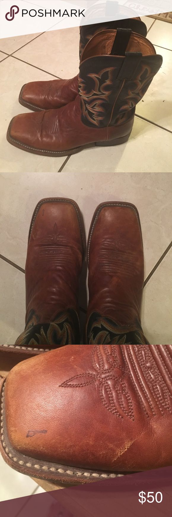 Justin boots for men square toe Good condition!! There is a pic of some minor flaws! Justin Boots Shoes Boots