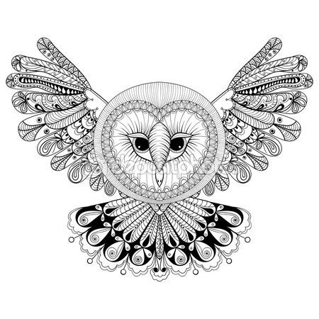 coloring page with owl zentangle hand drawing illustration tri vector de stock - Grateful Dead Coloring Book