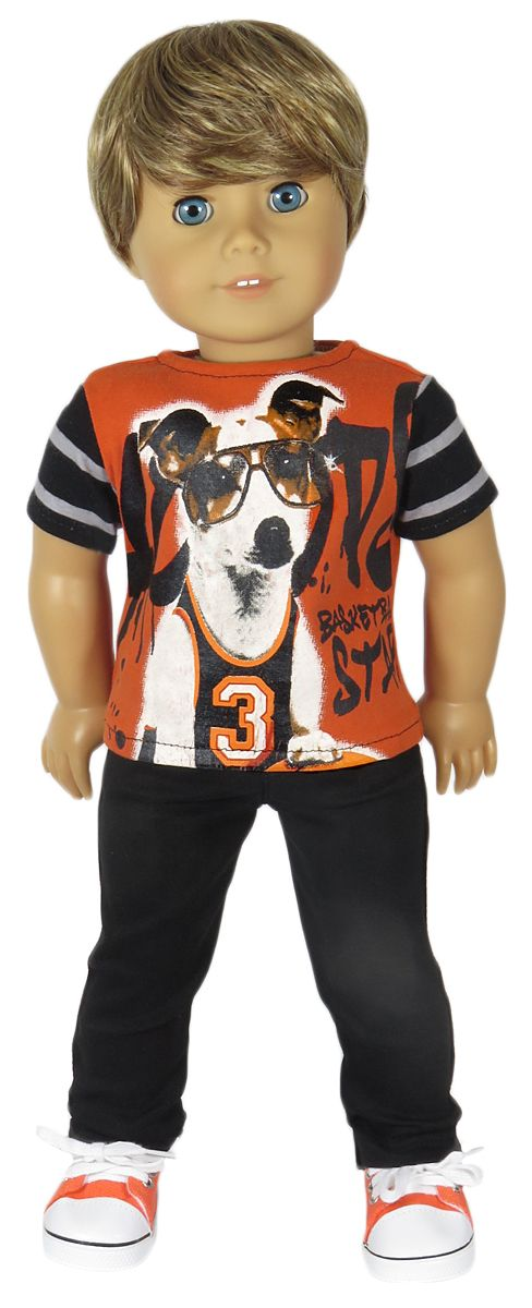 American Boy Doll Clothes Outfit.   Orange Basketball Dog Tee and Black Pants - Silly Monkey