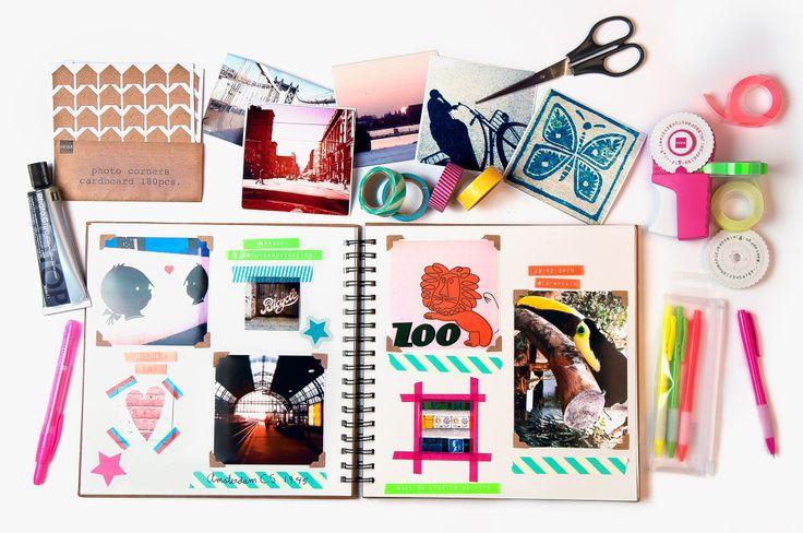 HEMA DIY -Een fijn werkje tijdens deze natte en donkere dagen. Het HEMA Designteam is gestart met een jaarboek van 2014. Wij proberen elke dag een leuke foto te maken en gebruiken washi tapes, de fotohoekjes en de lettertang van HEMA om de foto's en kaartjes in te plakken. Zie hier het eerste resultaat…