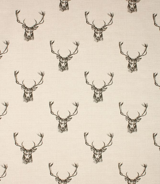 Stags fabric is a great value cotton printed fabric with a monochrome stag pattern on a neutral background. Looks great when made into curtains and blinds, for a stylish country look. Also suitable for cushions. Buy online or visit our fabric shops in the Cotswolds.