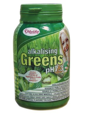 Morlife Alkalising Greens pH7.3 is a unique blend of potent alkalising foods and has been scientifically measured to show a very high alkalising potential using the PRAL calculation. It contains a wide range of nutrient dense green super foods, plus specific alkalising minerals, L-glutamine and herbs beneficial for promoting balance.