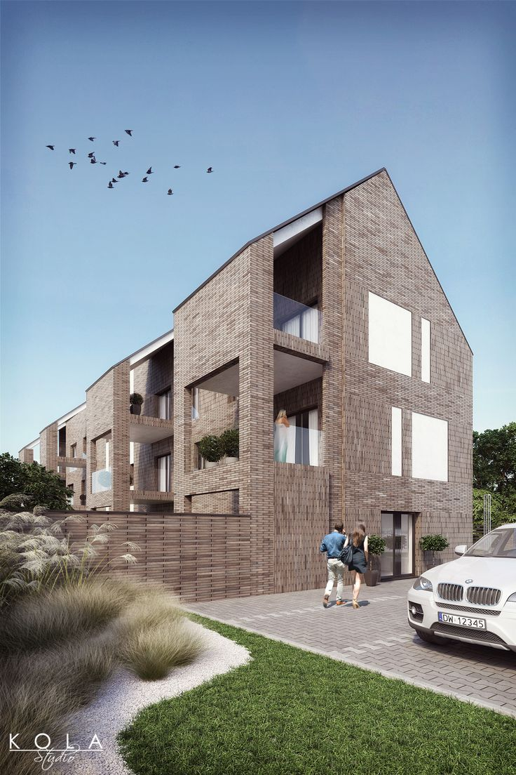 Low-rise residential building with brick facade - 3d visualization for real-estate marketing.