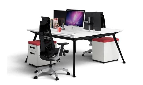 San Fran Ergonomic 2 Person Workstation Bench Black Leg. Modern, stylish and affordable. This 2 person workstation allows two people to work independently yet share the dynamics of a team.